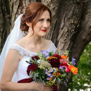toronto-bridal-style-redhead-outdoor wedding-ginger bride-low updo-red lips-mobile makeup-hairstylist