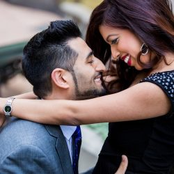 south-asian-engagement-downton-toronto-bridal-style-makeup-artist-hairstylist-engaged-couple-indian-financial-district-suit-black-dress