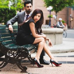 south-asian-engagement-downton-toronto-makeup-artist-hairstylist-engaged-couple-indian-financial-district-louboutins-suit-black-dress